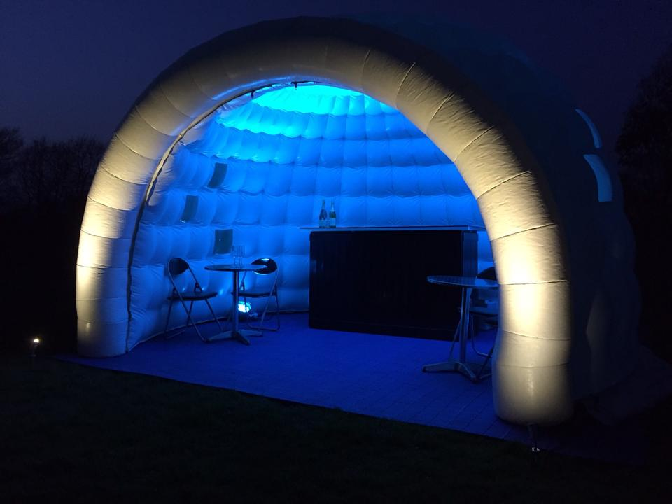 blue lights light up inflatable igloo bar