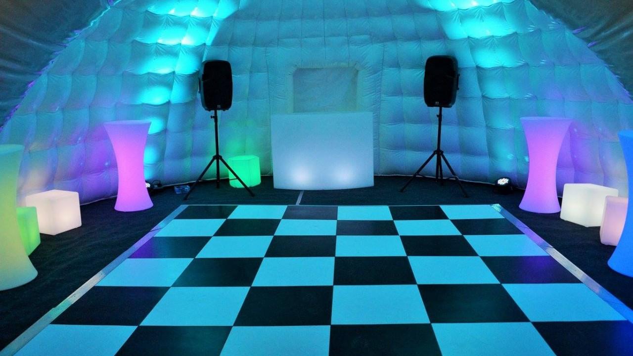 inside inflatable with dancefloor